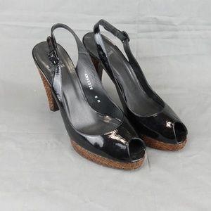 Stuart Weitzman Patent Leather Platform Heel Peep